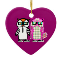 Bride & Groom Hipster Owls Wedding Xmas Ornament