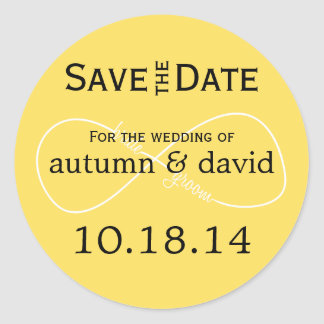 Bride & Groom Infinity Modern Save the Date Classic Round Sticker