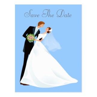 Bride & Groom Kiss Save The Date Postcard
