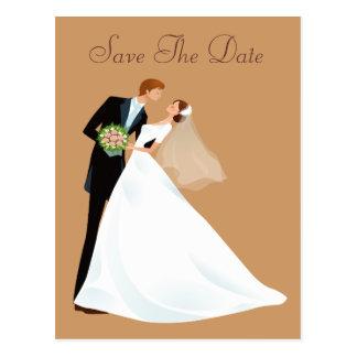 Bride & Groom Kiss Vintage Save The Date Postcard