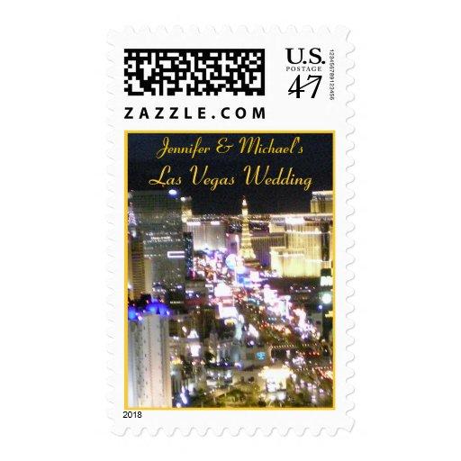 Bride & Groom Las Vegas Wedding Invitation Stamp