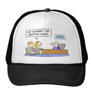 bride groom marriage counselor hogged wedding cake trucker hat