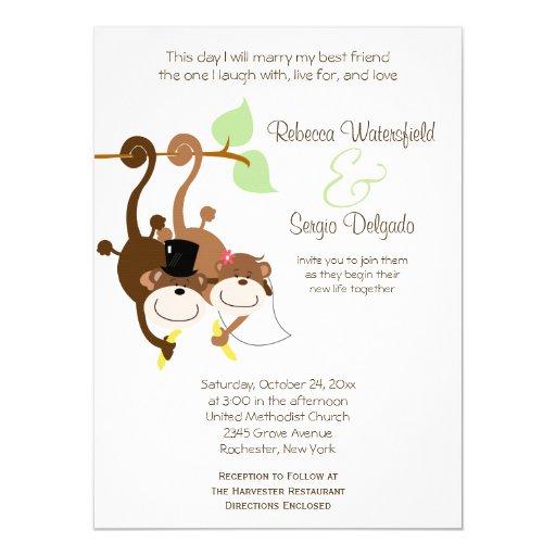 bride groom monkeys offbeat wedding invitation zazzle With paper monkey wedding invitations