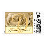 Bride Groom Monogram CREAM ANTIQUE GOLD Rose Stamps