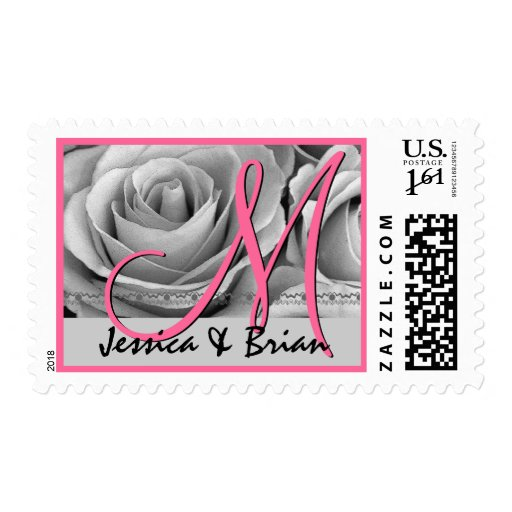 Bride Groom Monogram Pink and Silver Roses Postage Stamps