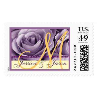 Bride & Groom Monogram PURPLE and  GOLD Roses Stamp
