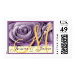 Bride & Groom Monogram PURPLE and  GOLD Roses Postage Stamps