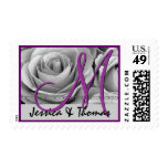 Bride Groom Monogram Purple and Silver Roses Postage Stamps
