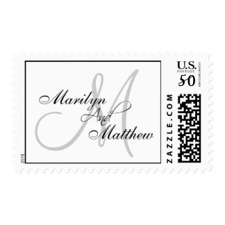 Bride Groom Names Monogram Postage Stamp Grey