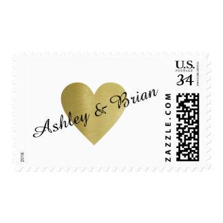bride & groom names, wedding gold love postage