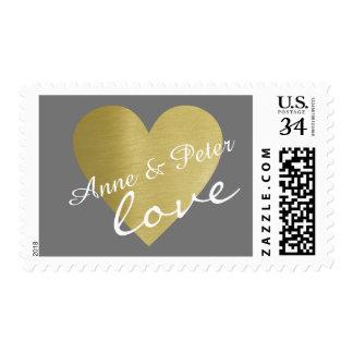 bride & groom names, wedding love postage
