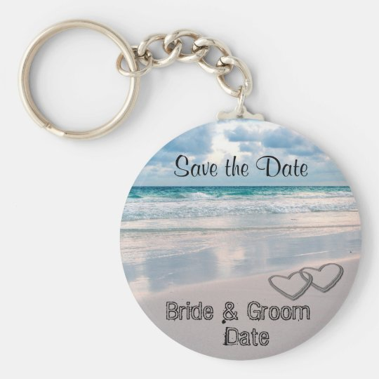 Bride & Groom Names Written in the Sand Keychain