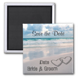 Bride & Groom Names Written in the Sand Magnet