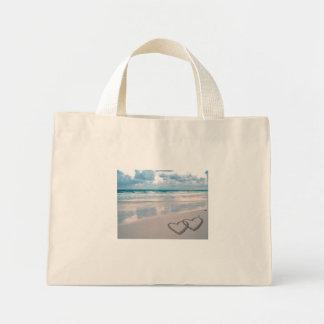 Bride & Groom Names Written in the Sand Mini Tote Bag