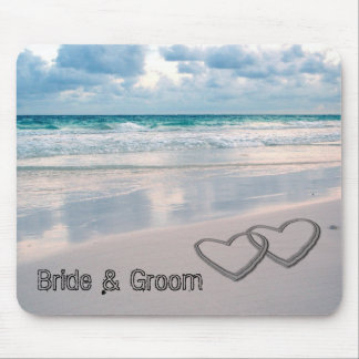 Bride & Groom Names Written in the Sand Mouse Pad