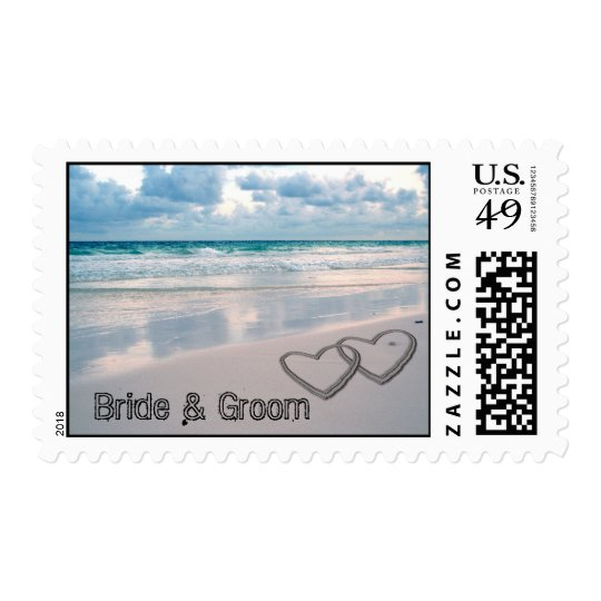 Bride & Groom Names Written in the Sand Postage
