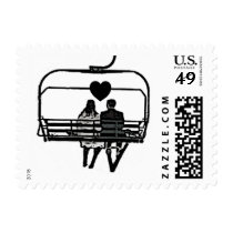 Bride Groom on ski lift love stamps