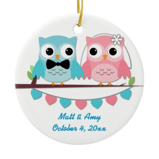 Bride, Groom Owl Ornament