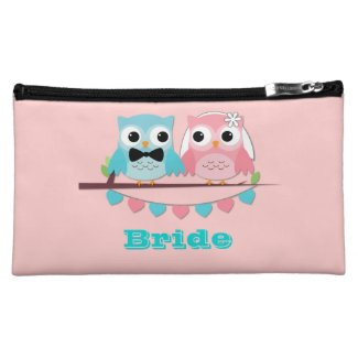 Bride, Groom Owls Cosmetics Bags