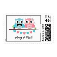 Bride, Groom Owls Stamps