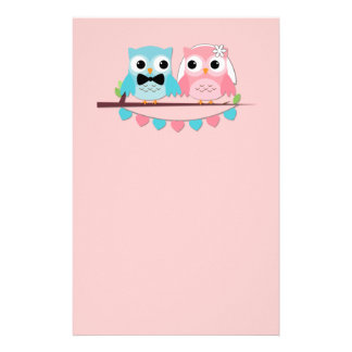 Bride, Groom Owls Stationery Paper
