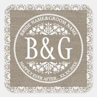 Bride&Groom personalizado Burlap&Lace Calcomanías Cuadradass
