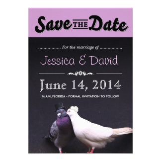 Bride Groom Pigeons Save the Date Announcement