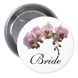 bride/groom pink orchid flowers wedding button