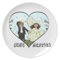 Bride Groom Post Ceremony Confetti Just Married Dinner Plate