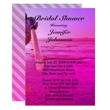 Beach Themed Bride & Groom Purple Sunset Beach Bridal Shower Card