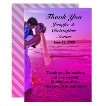 Beach Themed Bride & Groom Purple Sunset Beach Thank You Card