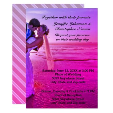 Beach Themed Bride & Groom Purple Sunset Beach Wedding Invite