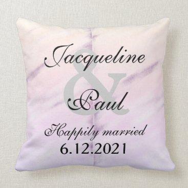 Bride Themed Bride Groom Purple Watercolor Reversible Pillow