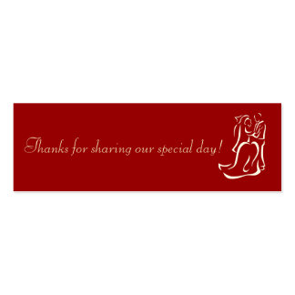 Bride&Groom Red Favor Tag Double-Sided Mini Business Cards (Pack Of 20)