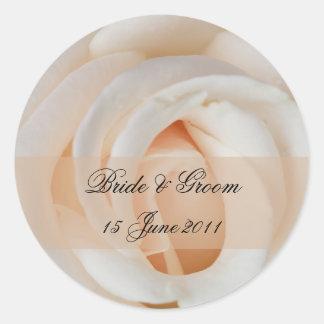 Bride & Groom Round Stickers Elegant Cream Rose