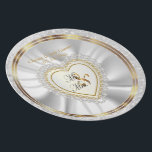 "Bride &amp; Groom Satin and Gold Wedding Keepsake Melamine Plate<br><div class=""desc"">Beautifully Bride &amp; Groom Satin and Gold Wedding Keepsake Plate. Make a great wedding gift. 100% Customizable. Ready to Fill in the box(es) or Click on the CUSTOMIZE button to add, move, delete or change any of the text or graphics. Made with high resolution vector and/or digital graphics for a...</div>"