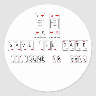 Bride & Groom Save The Date Playing Card Sticker