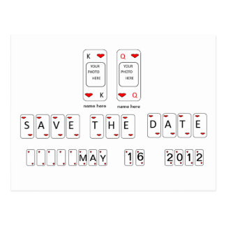 Bride & Groom Save The Date Playing Cards Postcard