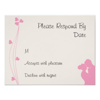 """Bride Groom Sillouette with Pink Hearts rsvp 4.25"""" X 5.5"""" Invitation Card"""