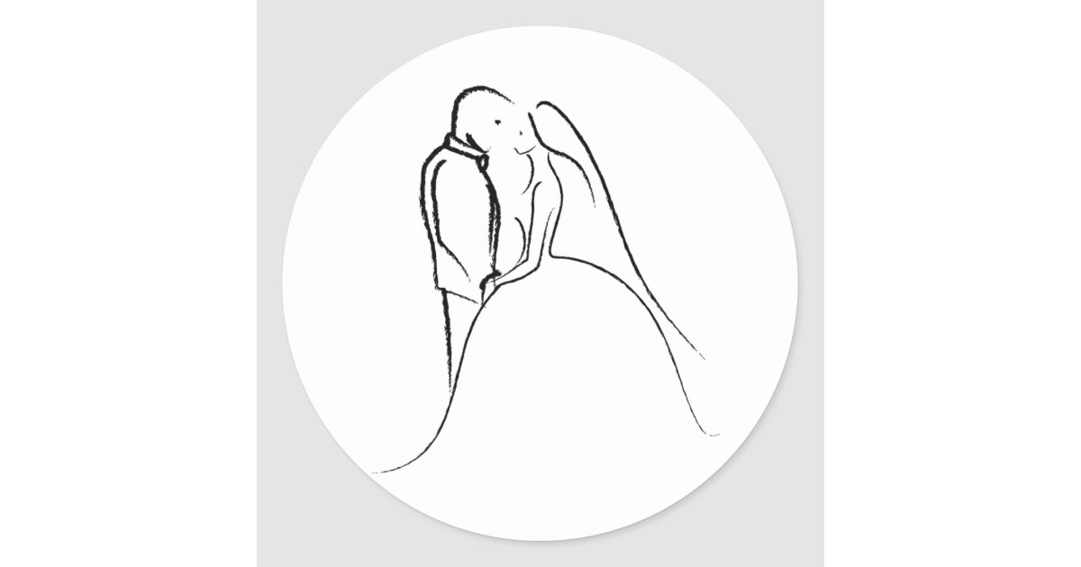 Bride Amp Groom Sketch Classic Round Sticker Zazzle