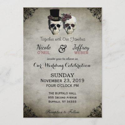 Bride & Groom Skull Goth Rustic Wedding Invitation