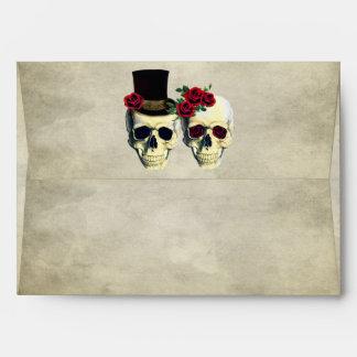 Bride & Groom Skull Wedding Envelope