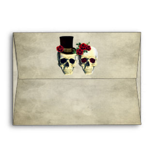 Bride & Groom Skull Wedding Envelope