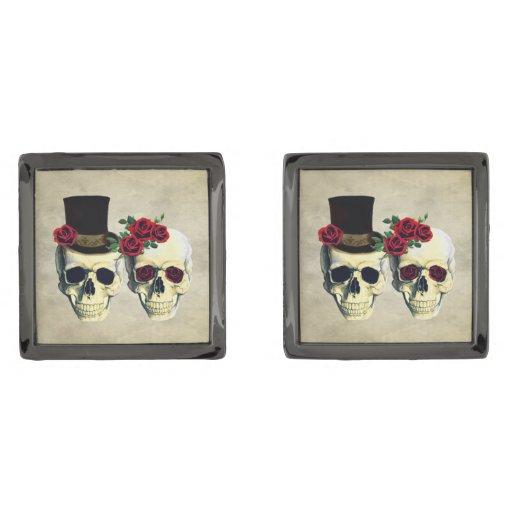 Classic Wedding Gifts Groom Bride : Bride & Groom Skull Wedding Gift for Groom Gunmetal Finish Cufflinks ...