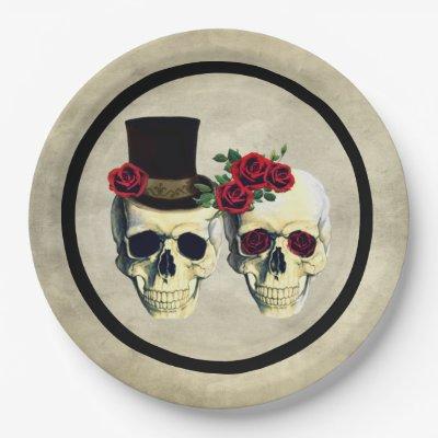 Bride & Groom Skull Wedding Paper Plate