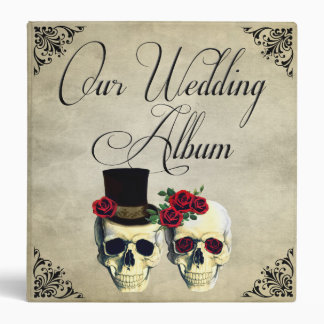 Bride & Groom Skull Wedding Photo Album 3 Ring Binder