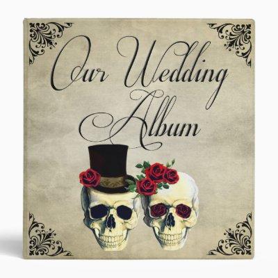 Bride & Groom Skull Wedding Photo Album 3 Ring Binder