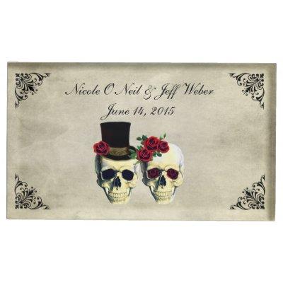 Bride & Groom Skull Wedding Place Card Holder