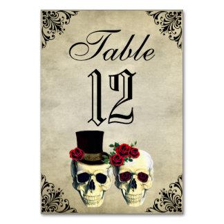 Bride & Groom Skull Wedding Table Card