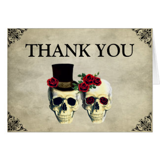Bride & Groom Skull Wedding Thank You Card